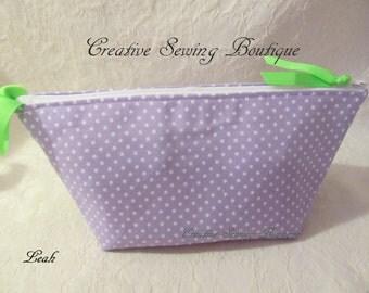 Essential oils bag, essential oils pouch, essential oils  bag, essential oils case  wrist-let - makeup bag-  small clutch Lavender dots bag,