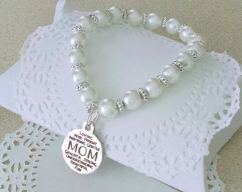 Mother Jewelry, Mother Bracelet, Gift For Mom, Mothers Are, Pearl Bracelet