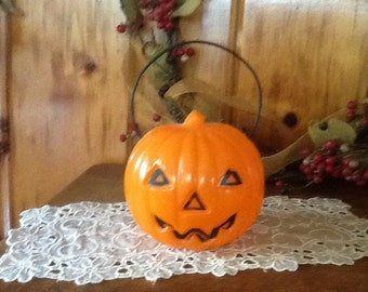 Antique Pumpkin Candy Container Halloween Decoration JOL 1950's Union Plastics Halloween Collectible  FREE SHIP