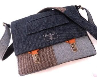 Messenger Bag, iPad Case, Mens messenger bag, Womens messenger pag iPad messenger Bag,  trunk latches, Recycled Suit Coat