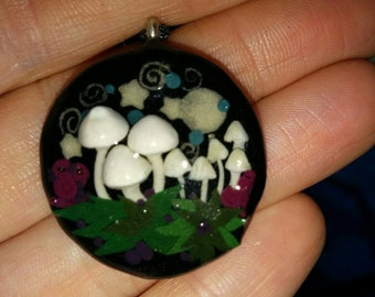 Glow in The Dark Mushrrom, Stars, Moon and Swirls Pendant  Free Shipping in USA & Canada
