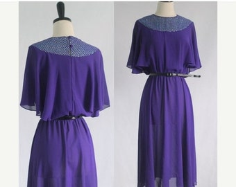 Vintage 1970s Dress 70s Dress Womens Purple Dress 1970s Clothing Disco Dress Party Dress Semi Sheer Cocktail Dress Size Small SM