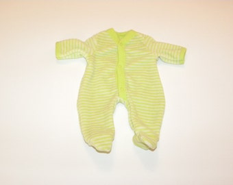 Lime Green Striped Footed Sleeper - 14 - 15 inch boy doll clothes