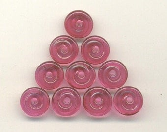 Tom's handmade lampwork cranberry pink 10 MINI accent disc spacer/drop set  11mm,  96552