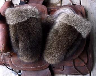 Raccoon fur mittens with red fleece liner handmade small