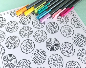 Printable DONUTS Coloring Page!- Digital File Instant Download- sweets, treats, sprinkles, adult coloring
