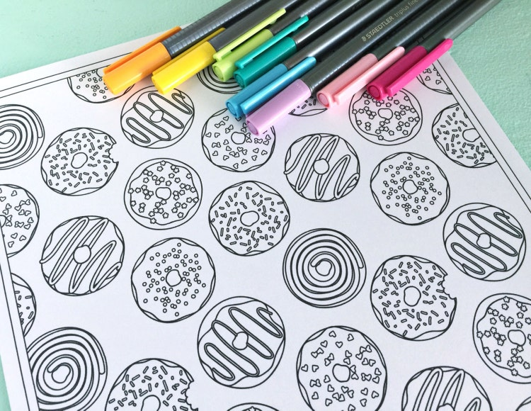 printable donuts coloring page digital file by amyjdelightful