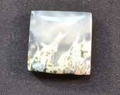 24mm square green moss agate cabochon