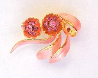 Designer Brooch Pink Rhinestones and Enamel on Gold Vintage Weiss