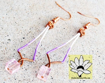 Ombre Lavender Purple Copper Earrings Wire-wrapped Handmade Sinewy Square Pink Dangle Beaded Color Block Earrings By Distinctly Daisy