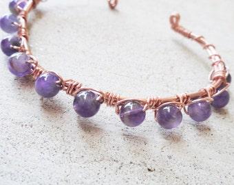 Copper Wire Wrapped Amethyst Purple Easter Beaded Cuff Bracelet By Distinctly Daisy