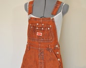 Orange Small Bib OVERALL Shorts - Orange Dyed Upcycled Revolt Cotton Denim Shortalls - Adult Womens Size Small (32 Waist)