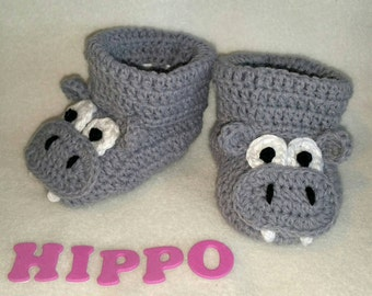 Baby Booties, Hippo NB to 6 Months Finely Finished Crochet