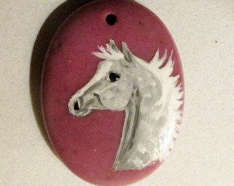 Dapple gray arabian on Rhodochrosite gemstone pendant hand painted
