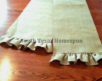 Ruffled Table Runner 12 inches wide Natural , Red or White Cream Burlap you pick the length, perfect for weddings HTV or Embroidery