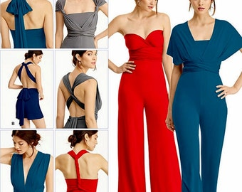 Wrap Top Jumpsuit Pattern, Strapless Jumpsuit Pattern, Stretch Knit Short Jumpsuit Pattern, Sz 4 to 26, Simplicity Sewing Pattern 8095