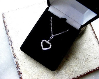 Heart necklace, white topaz silver necklace, heart charm necklace, sterling silver necklace, topaz heart necklace, petite heart necklace