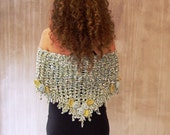 Crochet scarf, cottage chic shawl, roses scarf, triangular scarf,  lace scarf, OOAK, feminine, rustic wedding, Pale blue, Pale green