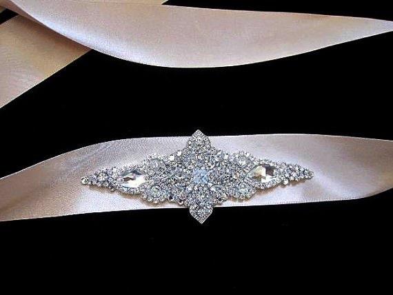 Karen Wedding Bridal Jeweled Crystal Brooch Taupe Satin Sash