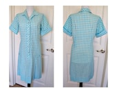 Vintage 60s hob nobber blue ckd day dress  - front pleats - cotton - blue and white