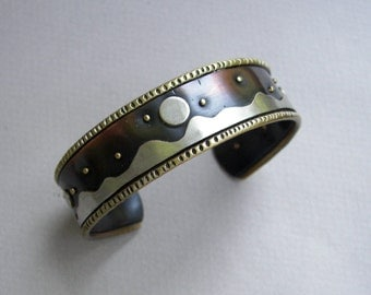Adjustable copper cuff bracelet;  mixed-metal women's cuff; Southwestern-style copper and silver cuff with mountain scene