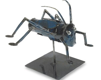 Blue Metal Cricket Sculpture Insect Art