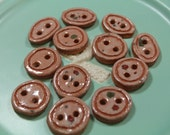 Red Clay Buttons Handmade Pottery Buttons 12 Glazed Peach Round and Oval Clay Buttons
