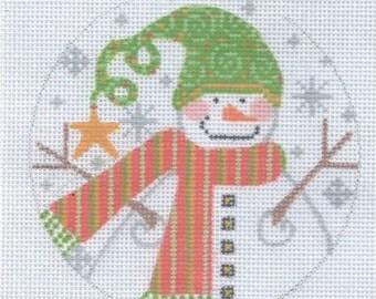"4"" Round Snowman CHD250 Hand Painted Needlepoint Canvas"