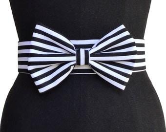 Big Bow Belt | Velvet Belt | Black and White Belt | Print Belt | Designer Belt | Pin up Belt | Vintage Belt | Elastic Belt
