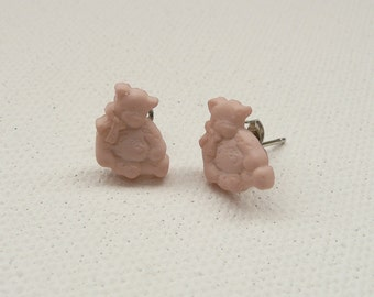 ns-Small Beige Teddy Bear Stud Earrings