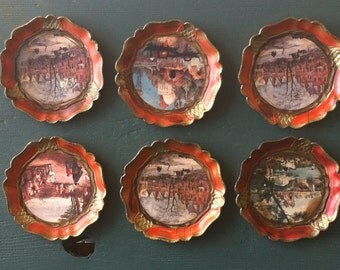 Set of 6 Vintage Paper Mache Coasters