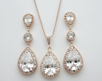 Rose Gold Bridal Earrings and Necklace Set, Wedding Jewelry Set, Clear Cubic Zirconia, Teardrop, Pink Gold Bridal Jewelry