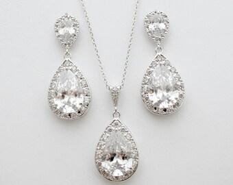 Wedding Jewelry Set Bridal Earrings and Necklace Jewelry Set Silver Luxury Cubic Zirconia Teardrop Wedding Jewelry Set