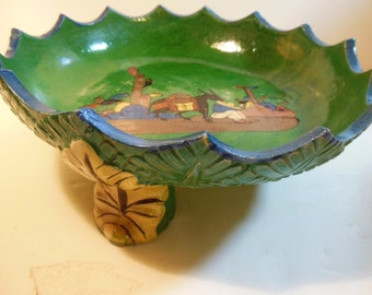 Vintage Mexican Tlaquepaque 3 Leg Bowl,  Scalloped Edge, Green Blue,  Tripod legs