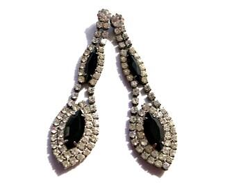 1960's Rhinestone Dangle Post Earrings, Chandelier Prong Set, 2 Black Marquise Rhinestones, Hollywood Regency, Drop Earrings, VisionsOfOlde