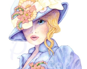 Victorian Ascot Girl in Periwinkle