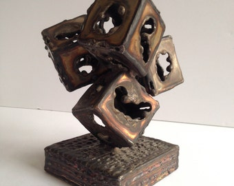 Kafka Brutalist Abstract Welded Sculpture, 1970s Signed Mid Century Modern Brutalist Sculpture
