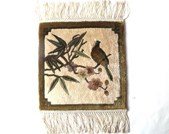 vintage 1950's wool rug tapestry bird on branch handwoven wall hanging decorative home decor hollywood regency art nouveau flowers neutral