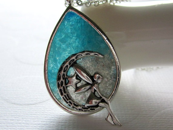 Stained Glass Fairy Necklace Teardrop Pendant Fairy Sitting