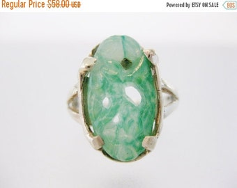 ON SALE Pretty Vintage Handmade Peking Glass & Sterling Ring