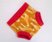 Extra Large Fitted Fleece Soaker Cloth Diaper Cover/Nappy Cover/Cloth Underpants Pullup, Mod Giraffe Hot Pink Mustard Gold XL
