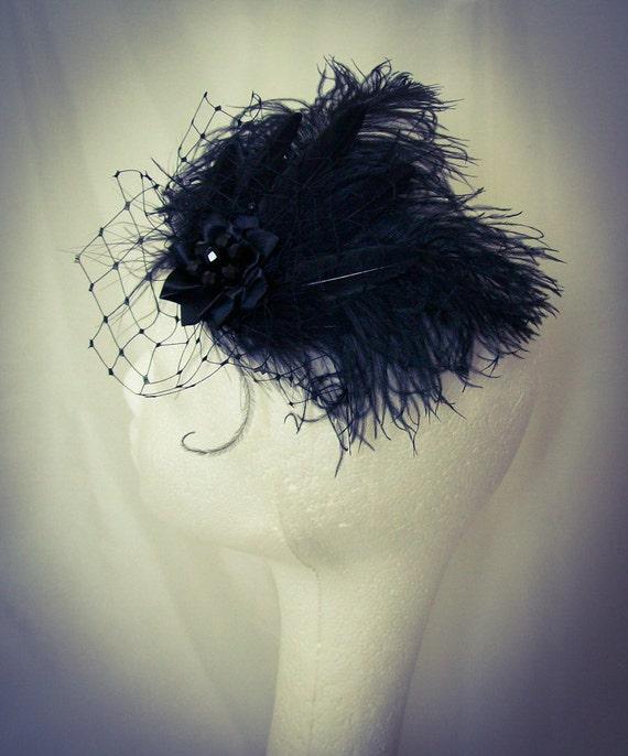 Black Ostrich Feather & Veil Gothic Vintage Burlesque Style Hair Clip Fascinator Headpiece