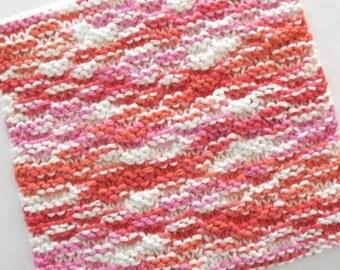 Knit Washcloth, Cotton Washcloth, Knit Dishcloth, Face Cloth, Pink Orange White