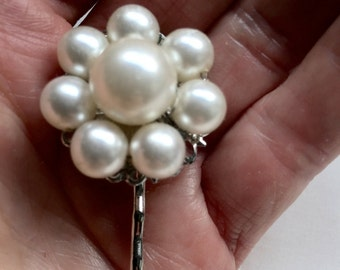 Vintage White Pearl Cluster Hair Pin Bobby Pin Bridesmaid Wedding Prom Art Deco Silver Doodaba