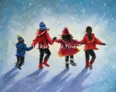 Four Snow Children Art Print three sisters little brother, three girls, boy, snow kids playing in snow wall art, Vickie Wade