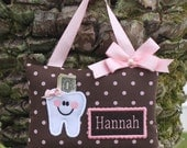 Personalized tooth fairy pillow,Tooth fairy pillow,Pink dots on brown tooth fairy pillow,Girl tooth fairy pillow,---SHIPS NEXT DAY