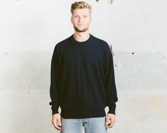 Vintage Plain SWEATER . 90s Men Navy Blue Oversized Striped Minimalist Artist Chunky Knit Cozy Sweater Jumper Boyfriend Gift . size XL