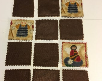 Country Cat Bee Primitive Themed Fabric Memory Game Learning-School-Preschool-Brown felt backing