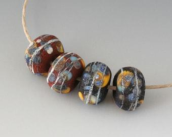 Rustic Sedona Nuggets- (4) Handmade Lampwork Beads -  Black, Red, Yellow