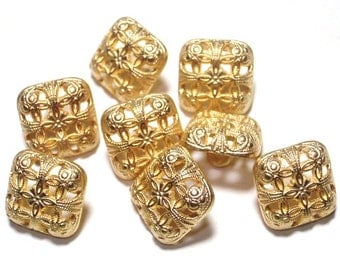 Filigree Gold Color Metal Buttons Square Detailed 14mm Set 8 Shank Buttons